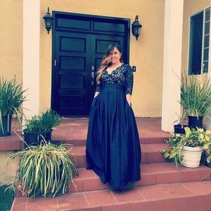 Eliza J Lace & Faille A-Line Gown